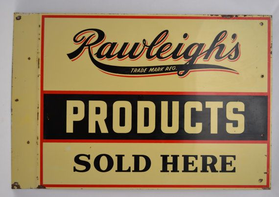 SALE Rawleigh's Products Advertising SOLD HERE Double Sided Painted Metal Sign Vintage Steel Flange Flanged