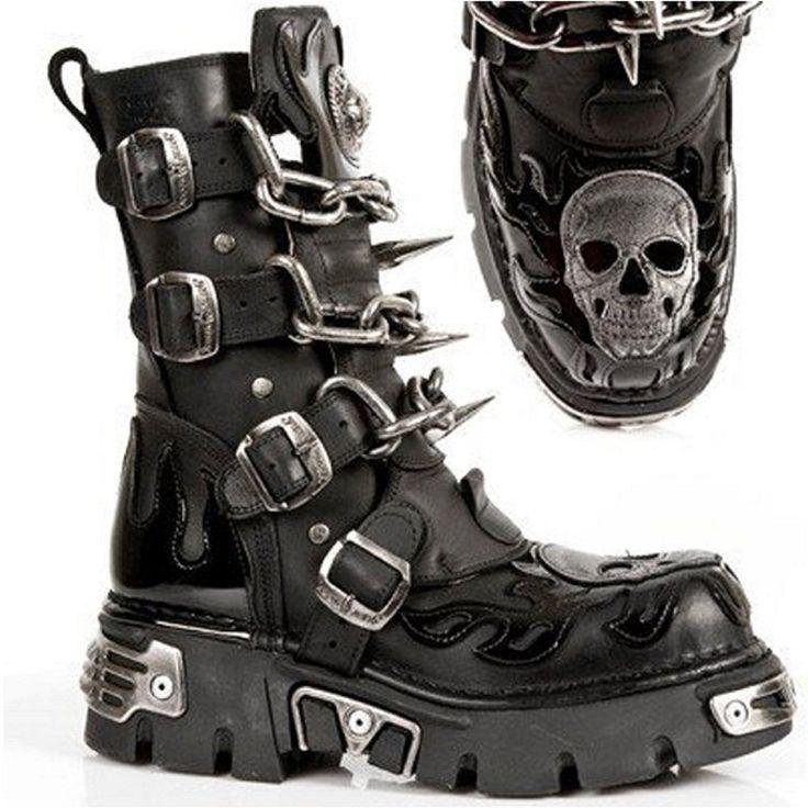 New Rock M727-s4 Mens All Leather Gothic Biker Boots (EU 41 (US 8), Black)