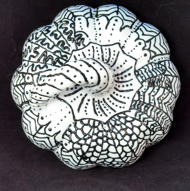FINISHED Top View Of The Lid Ceramic Pumpkin With Puffy Paint I Combined