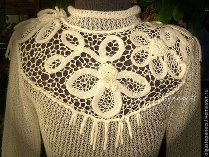 Кофты и свитера ручной работы. Ярмарка Мастеров - ручная работа Ажурный комбинированный джемпер Белые деревья. Handmade.