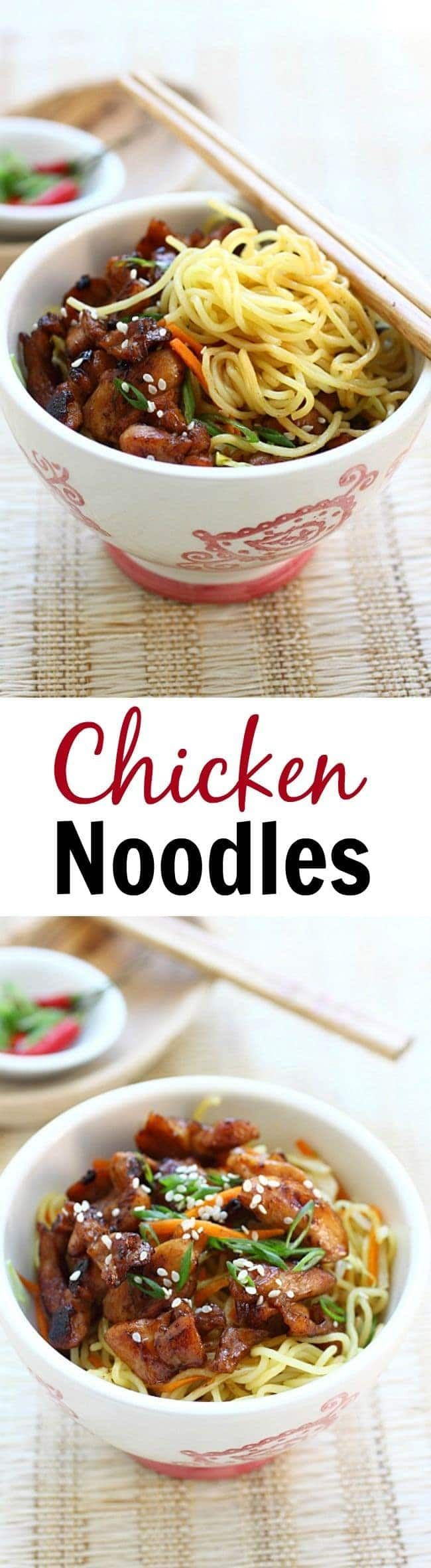 Chicken Noodles – Stir-fried chicken noodles with chicken and egg noodles. This easy chicken noodles recipe is delicious, easy to make, and perfect for weeknight dinner   rasamalaysia.com