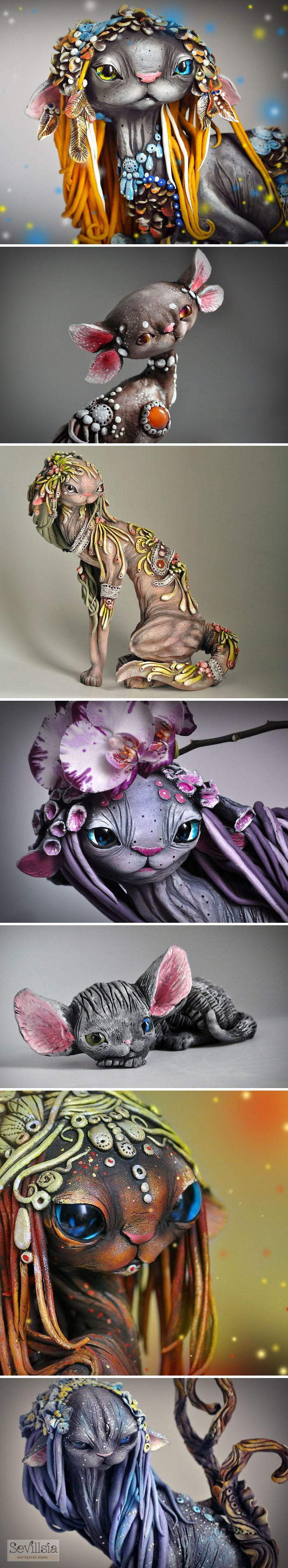 Russian Artist Victoria Serdyukova Sevillsia Combines Fantasy And Rasta Elements To Create Magical Cats of polymer clay