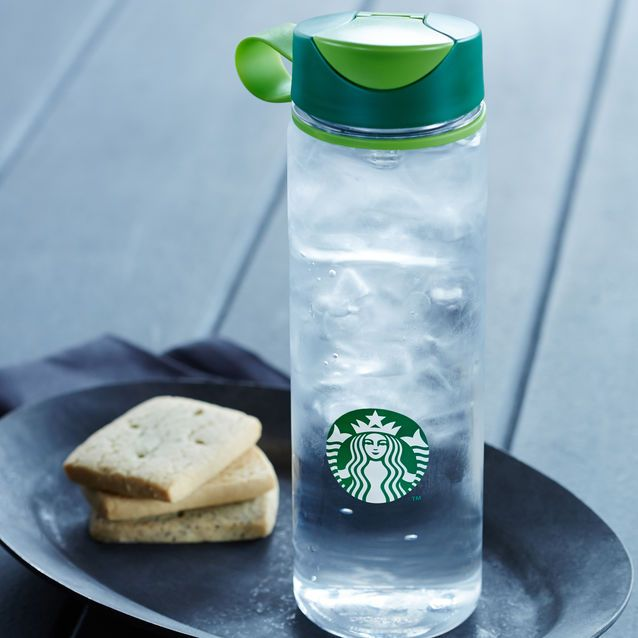 A reusable plastic water bottle with an easy-grip shape and flip-top lid.