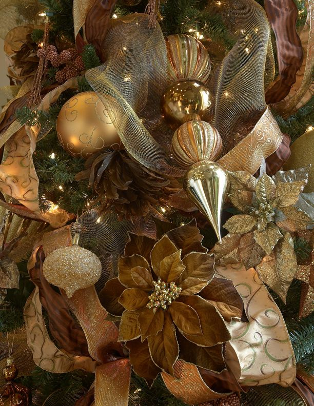 Gold and brown scheme jul pinterest Brown and gold christmas tree