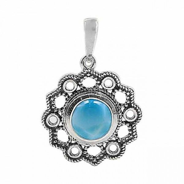 Silver Palace Sterling Silver Natural Larimar Pendant for Women and Girls