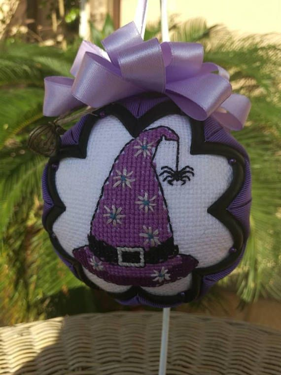 Check out this item in my Etsy shop https://www.etsy.com/listing/542971856/halloween-ornament-witches-hat-cross