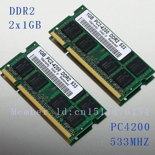 NEW 2GB 2x1GB PC2-4200 DDR2-533 533Mhz 200pin DIMM Laptop Memory pc4200 533MHZ DDR2 Low Density RAM