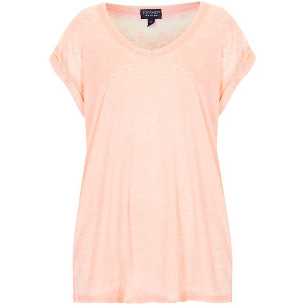 TOPSHOP V Neck Burnout Tee (£6.01) found on Polyvore featuring women's fashion, tops, t-shirts, topshop, tees, shirts, pale pink, v-neck shirts, t shirts and pale pink t shirt