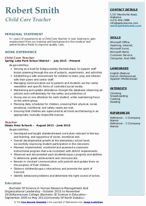 Child Care Teacher Resume Fresh Child Care Teacher Resume Samples