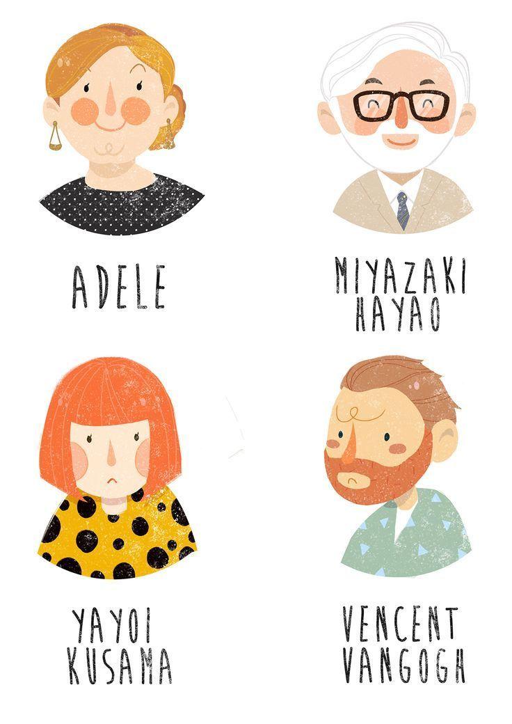 vier Portraits ~ auf Behance – #auf #Behance #cartoon #Portraits #vier – Catherine