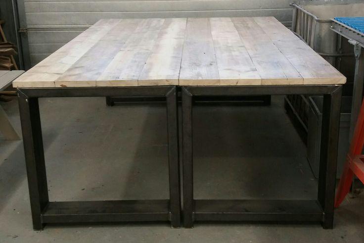 Steigerhouten tafels met zwartijzeren onderstellen. Made by E.O.S-Heino