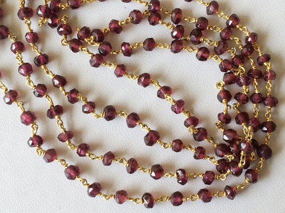 Garnet Faceted Rondelle Beads in 925 24Kt Gold by gemsforjewels
