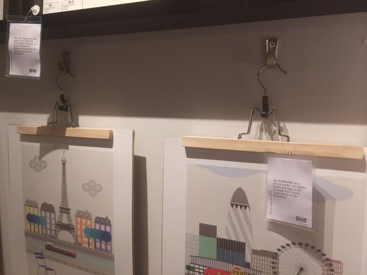 Very cool idea @IKEA! Skirt hanger for displaying prints ..limitless ideas!
