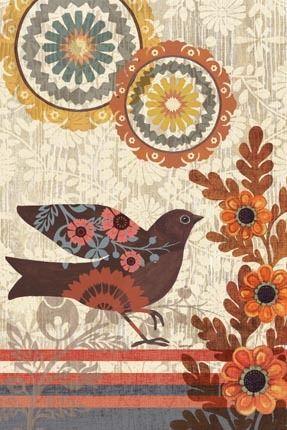 """Santa Fe Birds Vert"" By Jennifer Brinley."