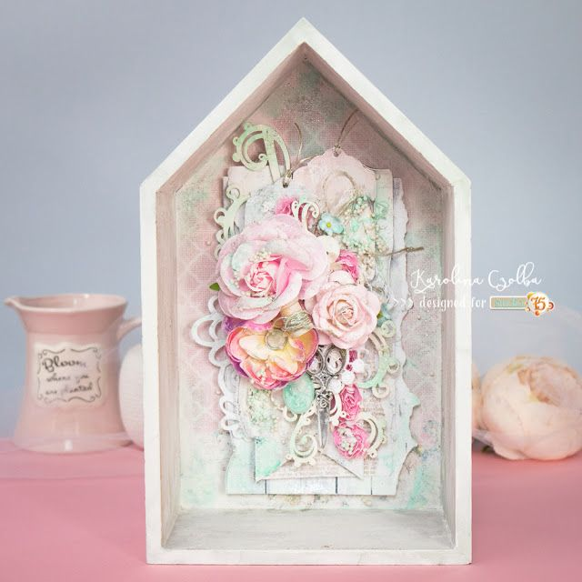Wooden Shabby chic house with pastel flowers, Scrapiniec chipboard and lots of layers.
