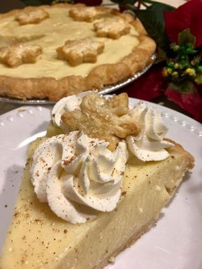 """This is a creamy custard based pie made from scratch with classic eggnog ingredients. The nutmeg, vanilla and rum flavors make it taste very """"holiday"""", but why not make it all year around? Even people who aren't eggnog fans love this one! Enjoy with whipped cream or without."""