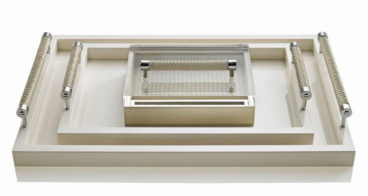 Cream Riviere leather tray, luxury decorative accessories
