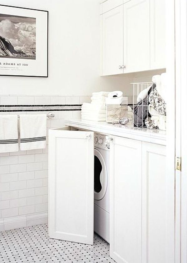 I like the idea of this for the guest bath - 20 Small Laundry with Bathroom Combinations