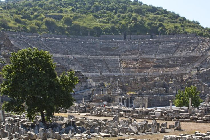 The Great Theater of Ephesus, where St. Paul once preached. One of the most fascinating excursions you can include in your cruise! #Ephesus #great #Theater #Turkey #most #fascinating #excursion #cruise #travel #travelphotography