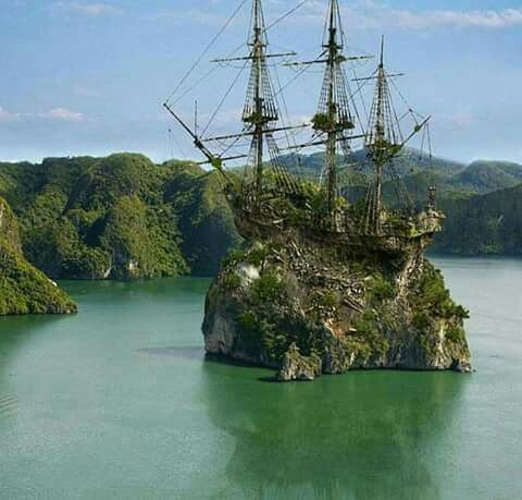 Creepy abandoned tall ship,that looks like an island more than a ship.