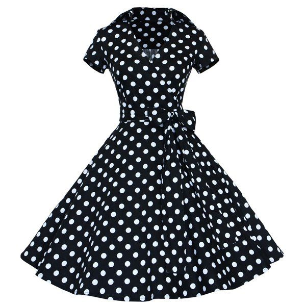 Britney you HAVE to go to this site and see these dresses and the awesome prices!!! Vintage Women's V-Neck Polka Dot Print Short Sleeve Ball Dress