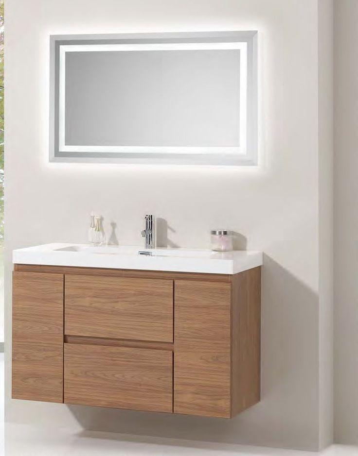 Mueble baño Noa 80 2 Cajones con freno y 2 Puerta Disponible en melamina, lacado brillo o mate Lavabo Monaco acrilico blanco  Espejo opcional Norma o Marina