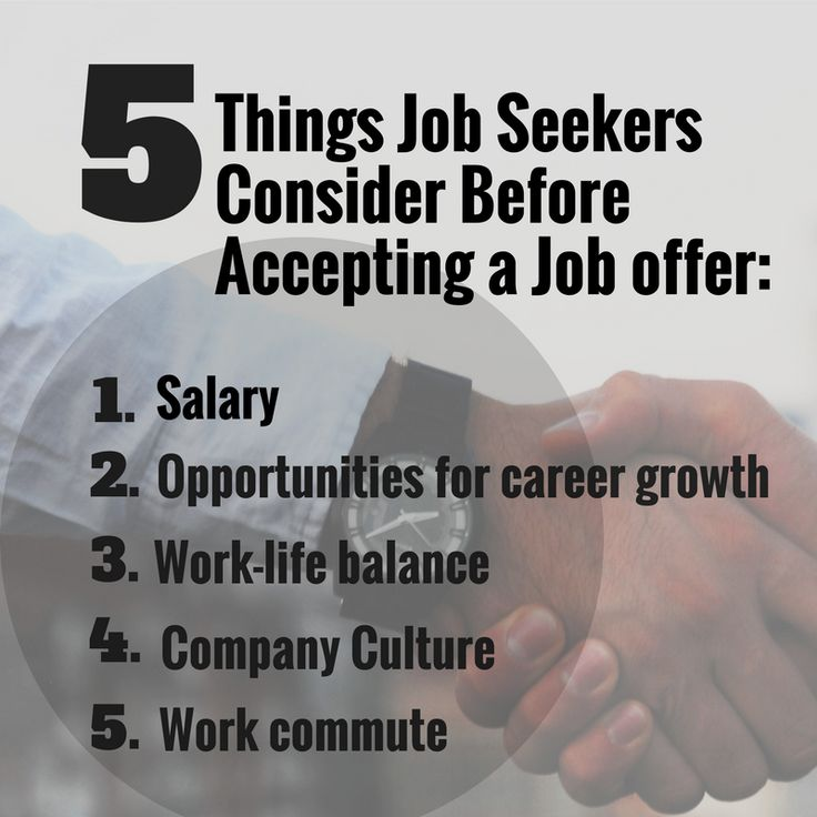 5 things job seekers consider before accepting a job offer