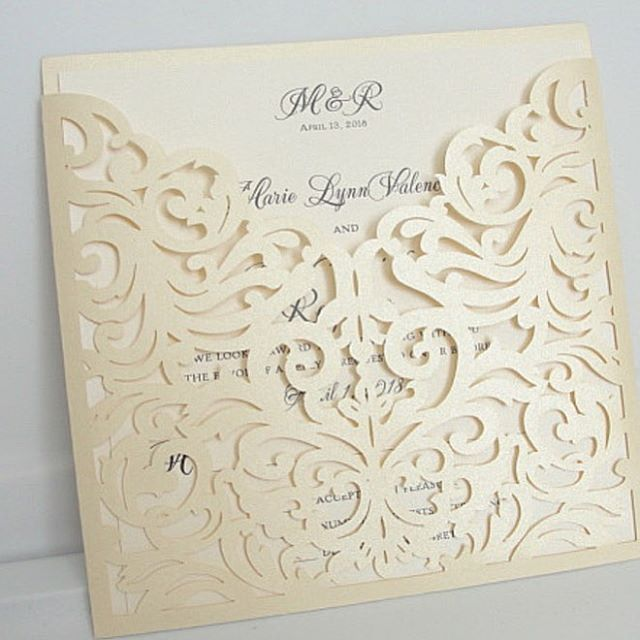 Ivory lace pocket just added to our laser collections, more to come! #wedding #weddingideas #weddinginvites #weddinginvitations #lasercut #laserinvitations #weddinginspiration #bride #bridestobe #weddingplanning