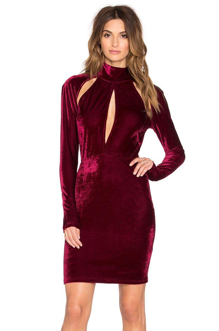OH MY LOVE Great Pretneder Velvet Bodycon Dress in Burgundy