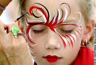 feathered.  4th july face paint facepaint face painting ideas  change colors christmas halloween st pattys !