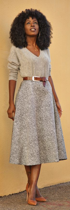 Grey Full Pleated Midi Skirt by Style Pantry