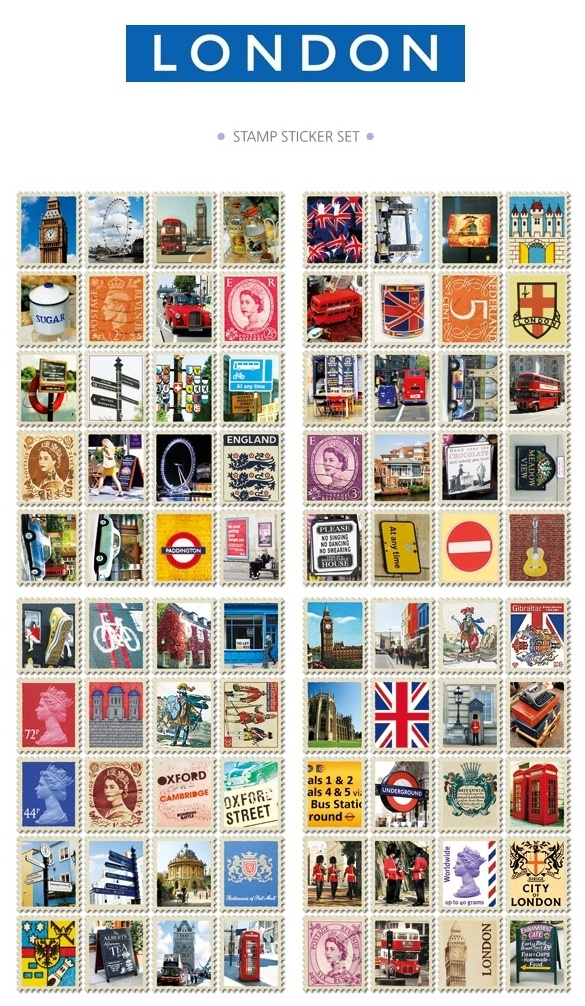 With its classical, vintage aesthetics and captivating, British charm, this set of postage stamp stickers inspired by the city of London will delight natives and anglophiles alike  LONDON STAMP STICKER-London