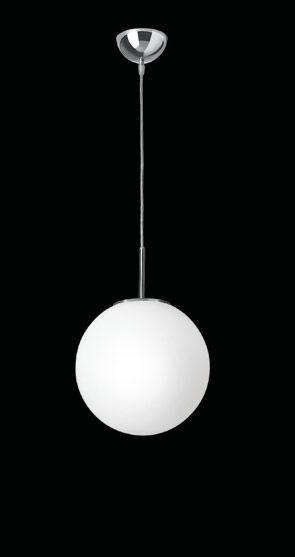 Nemo Asteroid 50 Pendant, 500mm diam large globe pendant in triplex opal white blown glass