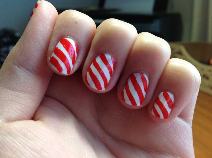 x-mas nails: candy cane