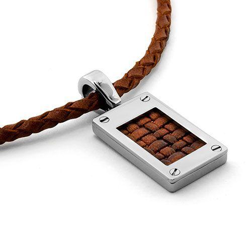 Titanium with Leather Mens Necklace #Titanium #Jewelry