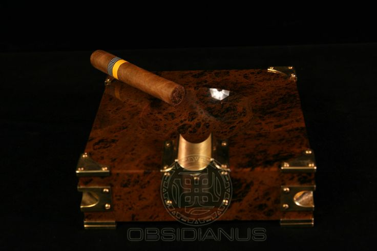 Cigar Ashtray Hand Made / Semiprecious Natural Obsidian Stone / Dark Mahogany Color