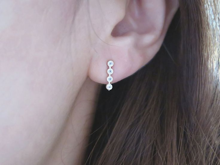 Silver CZ bar earring / Bar earrings / Cubic bar earring / 925 Silver earring / Daily earring / Delicate earring / Simple Stick bar earring by MinimalBijoux on Etsy