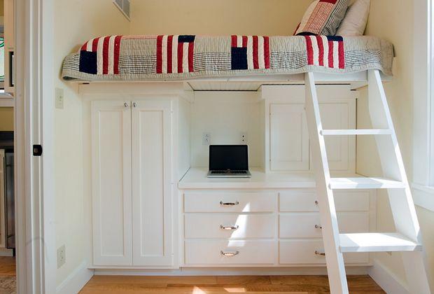 Small Bedroom Idea Raised Bed Over Wardrobe And Desk