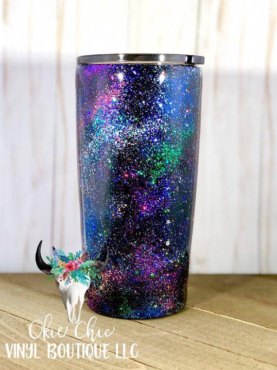 Custom Stainless Steel glitter and Crystal tumbler