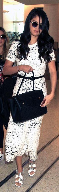 Selena Gomez: Shoes – Robert Clergerie  Dress – Vionnet  Purse – Louis Vuitton