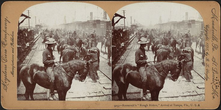 https://flic.kr/p/isef4X   Roosevelt's 'Rough Riders,' arrival in Tampa, Fla., U.S.A.   Local Accession Number: 06_11_004848 Title: Roosevelt's 'Rough Riders,' arrival in Tampa, Fla., U.S.A. Genre: Stereographs; Photographic prints Created/Published: Meadville, Pa. ; St. Louis, Mo. : Keystone View Company, manufacturers and publishers Copyright date: 1898 Physical description: 1 photographic print on curved stereo card : stereograph ; 9 x 18 cm. General notes: Title from item.; No. 9253…