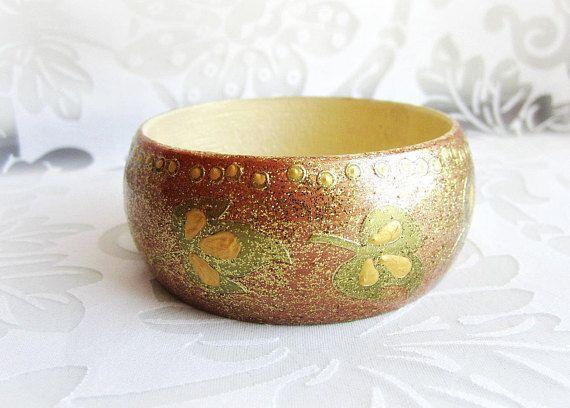 Gold wood bangle painted wooden bracelet leaf bracelet gold