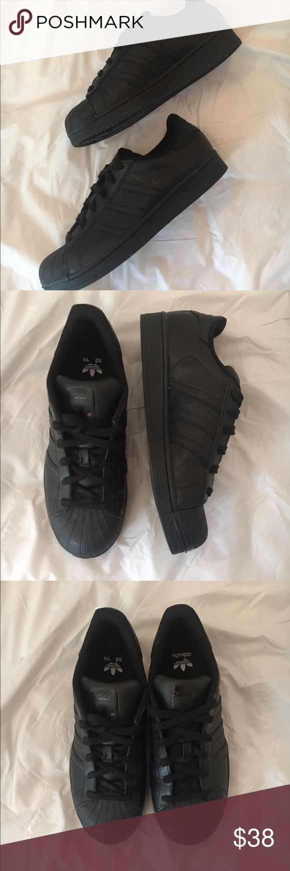 Adidas Superstar Shoes All black Adidas Superstars. Barely worn. Size 8 womens/ 6 mens Adidas Shoes Sneakers