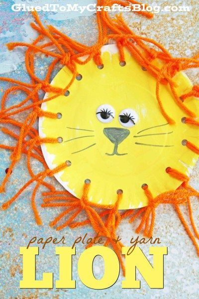 Paper Plate Yarn Lion - Kid Craft Idea