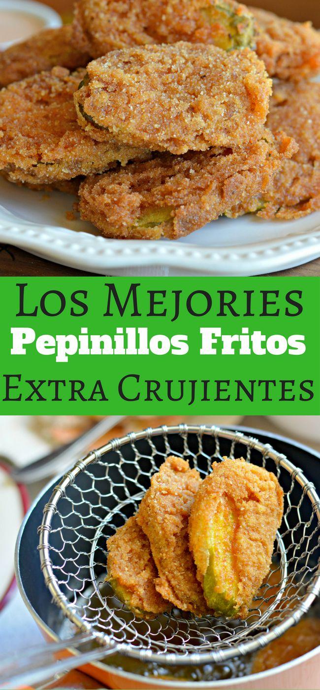 Estos Pepinillos Fritos Extra Crujientes son deliciosos y perfectos para comer en los dias cuando hay juegos. Pruebalos ahora!
