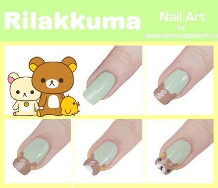 rilakkuma nail art tutorial