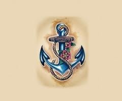 Anchor tattoo with M's initials and birth date!!!