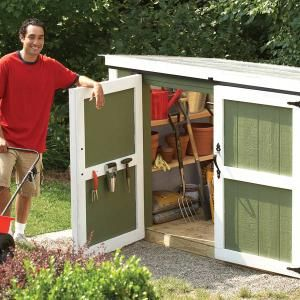 This outdoor storage locker is perfect for small yards. Yet big enough to hold your mower.