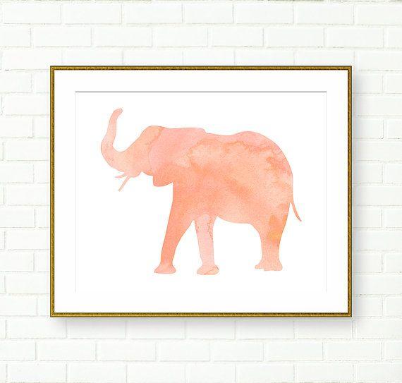 Elephant Print, Girl Nursery Prints, Watercolor Elephant, Pink Peach, INSTANT DOWNLOAD, Safari Nursery, Modern, Pastel, Instant PRINTABLE