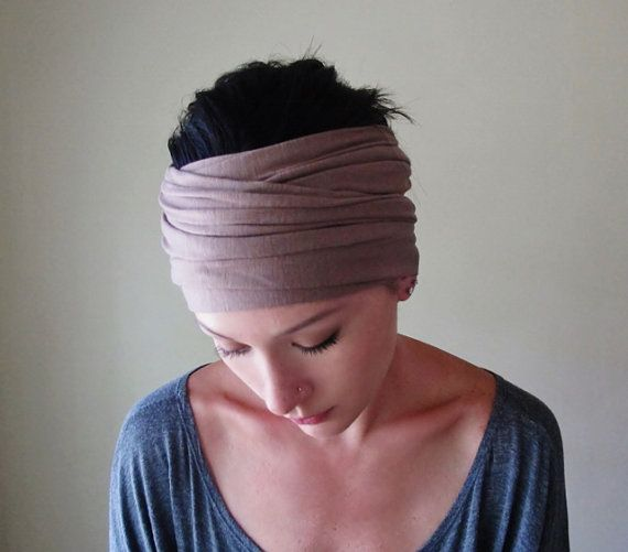 Taupe Head Scarf  - Tan Jersey Head Scarf, Hair Wrap, Headband - Lightweight Womens Hair Accessories